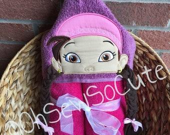 Ready to ship 3D Pirate Girl Hooded Towel, Beach towel, Bath Towel, Pool Towel, Kids Towel