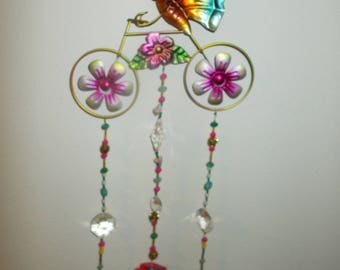 Pink Butterfly on a Bike hanging 3D Hanging Suncatcher