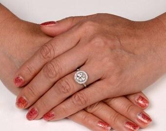 1.46 Carat Old European Cut Diamond Halo Platinum Engagement ring