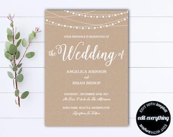 Kraft wedding Invitation Template - String Lights Rustic Wedding Template - Instant Download Printable Invitation - Kraft Wedding Invite PDF