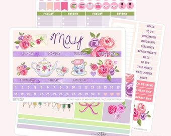MAY Monthly View Planner Sticker Set | Fits ECLP or Classic Happy Planner