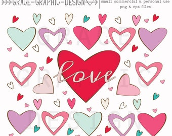 Heart Clipart, Hearts, Commercial Use Clipart, Valentine Clipart, Instant Download, Digital Download, Clipart Set, Hearts