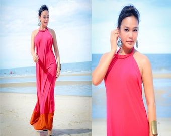 Color block Pink Orange  Halter open back long maxi dress sun evening S M L XL