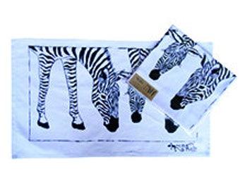 Cotton Tea Towel with wonderful fun Zebra Bottoms Design. Machine washable.