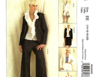 OOP Misses' Lined Dress Jacket, Ruffled Top, Skirt and Pants - Sizes: 14 -16 -18 -20, McCall's M5336 Sewing Pattern - UNCUT