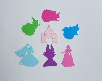 Sleeping Beauty Confetti - Once Upon a Dream - Set of 140 - Party Decor - Fairy Godmother - Princess Aurora - Castle - Maleficent