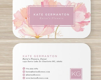 Square geometric cube business card designer artist floral business card florist monogram watercolor pink flowers artist reheart Image collections