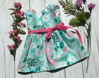 """14.5"""" or 18"""" Doll Floral Dress to Fit Like American Girl Doll Clothes, Bitty Baby Dress, 18"""" Doll Clothes, 18 Inch Doll Dress, Wellie"""