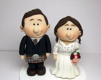 Personalised Bride and Groom Wedding Cake Topper, Scottish,  Novelty Topper, Handmade Mini Topper