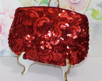 Beautiful, Vintage, Red Sequin Clutch