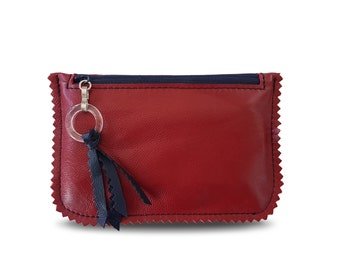 """Red Leather Credit Card Holder from Italian Genuine Leather. Coin Purse, Zippered Pouch. Gift for her. Size: 5,5""""x3,7"""""""