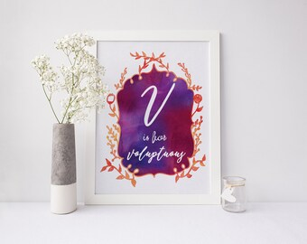 V is for Voluptuous - signed Sarcastic Alphabet print