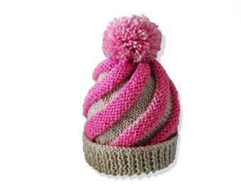 Baby swirl hat, Knitting pattern, Instant download, Baby knitting pattern, Pom pom hat pattern, Baby boys hat, Baby girls hat, Knitted hat