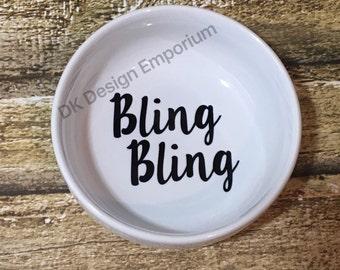Bling Ceramic Ring Dish - Bling Bling Ring Dish - Ceramic Jewelry Holder - Bling Holder - Engagement Ring Holder - Engagement Gift