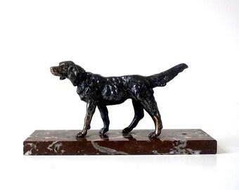 Art Deco Dog Sculpture - Vintage 1940's - Marble & Spelter - Metal Dog Sculpture - Vintage Dog Figurine