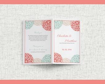 wedding booklet program, program template, Diy Printable Wedding Program, Instant Download, Mint Coral, heart petals, Recrption Program