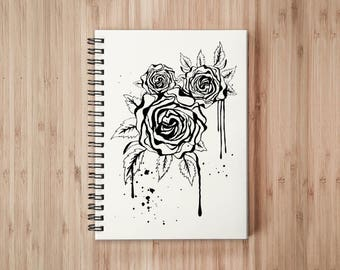 Rose Notebook/Sketchbook Wire Bound - Blank pages