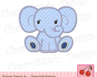 Elephant Baby Animal Machine Embroidery Applique Design - 4x4 5x5 6x6""