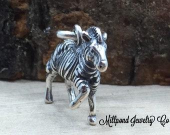 Zebra Charm, Zebra Pendant, Sterling Silver Zebra Charm, Animal Lover Charm, Animal Charm, Zoo Charm, Small,  PS3167