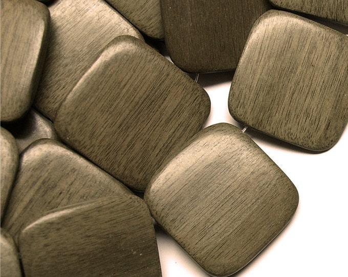 Wood Bead, Flat Square 35mm, Graywood - 8 Inch Strand (WDSQ-35GR)