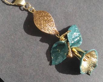 Gold Arum and assorted leaves - precious pendant