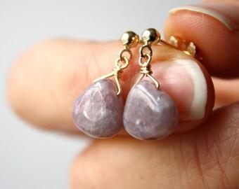 Dangle Post Earrings . Earrings Drop Stone Studs Gold . Purple Gemstone Stud Earrings Dangle . Purple Drop Earrings Stud Stone
