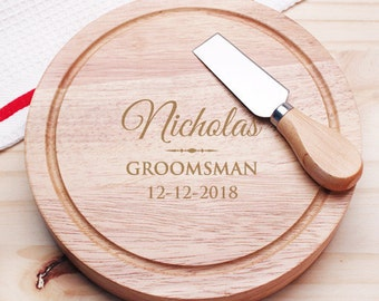 Deluxe Groomsman Personalized 5pc. Cheese Board Gourmet Set  (JM954605-10-CS913)