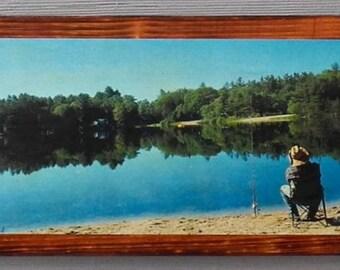 Fishing Panorama on wood