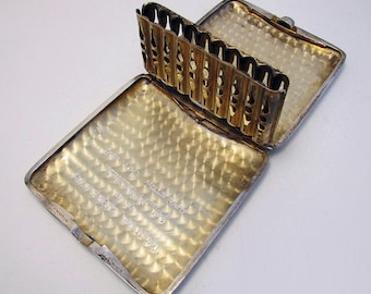 Unusual American Antique (c1918) Solid Sterling Silver Spring-Loaded LIFT-UP Cigarette Pocket Card Display Case WWI. Early 20th-Century.