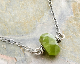 August Birthstone Necklace - Green Gemstone Necklace - Peridot Necklace - Sterling Silver - #4784