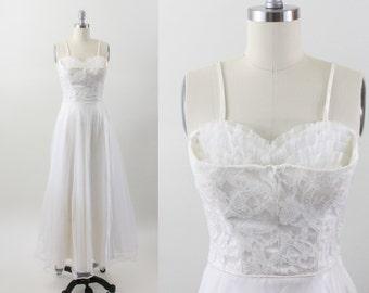 1950s dress - 50s tulle lace party dress - shelf bust dress - wedding dress - xxs xs - prom dress