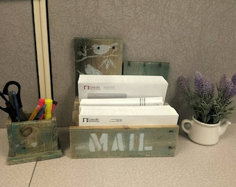 Rustic wooden mail organizer
