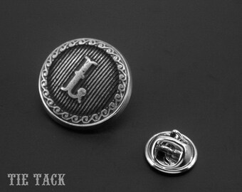 Initial Tie Tack -Letter Tie Pin -Monogram Tie Tack Pin -Personalized Brooch Pin -Mens Accessory -Your Choice of A to Z