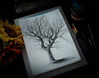 Dead Tree Black and White Ink Drawing 3