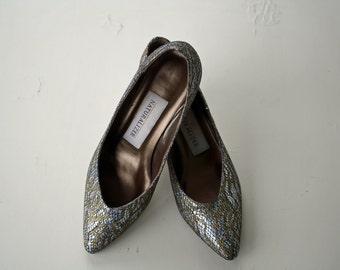 Vintage Gold and Silver Snakeskin Metallic Heels Sparkle Low Pumps Naturalizer 7.5