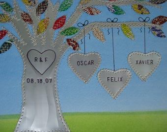 Ten Year Anniversary Gift - 10 Year Anniversary Gift - Family Tree - Personalized - Engraved Names and Wedding Date - Aluminum