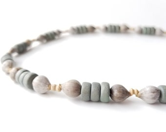 Men's jewelry - wooden necklace with home grown beads - Grey Jobs Tears