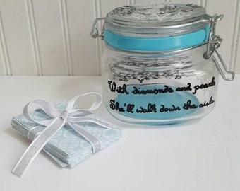 Wedding guest book wish jar wedding decoration or bridal shower decoration wedding guest sign in unique wedding breakfast at tiffanys theme