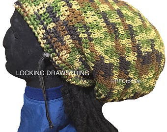 Ready to Ship - Camo Drawstring Beanie for Dreadlocks, Locs, Long Hair, Dread Tam, Large Hat, Taupe, Brown, Rasta, big head size