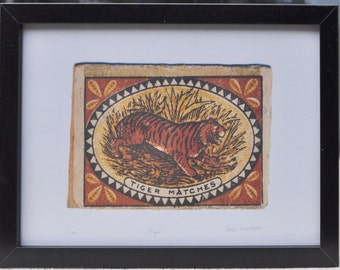 Tiger Matches Vintage Matchbox Label Framed Print - Limited Edition