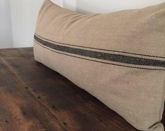 Grain Sack Pillow--Farmhouse Pillow-Long Lumbar Pillow Cover-Decorative Pillows-Rustic Decor-Farmhouse Decor-Pillow Cover 12x22