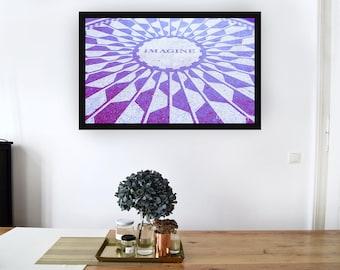 Imagine John Lennon inspirational print, Purple and white Imagine John Lennon Inspirational Print, Imagine Print, Imagine Wall art,