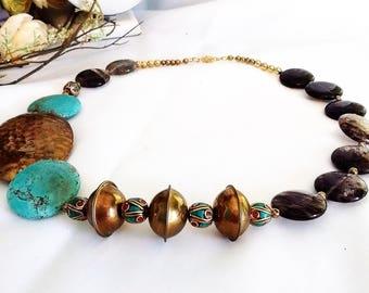 Asymmetrical statement necklace, Tribal necklace, Moroccan jewelry, Gypsy jewelry, Boho jewelry, Brass necklace, Bohemian necklace