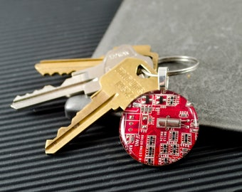 Circuit Board Keychain Red, Electrical Engineer Gift, Circuit Board Jewelry, Computer Key Fob, Geeky Gift, Technology Gift, Technophile Gift