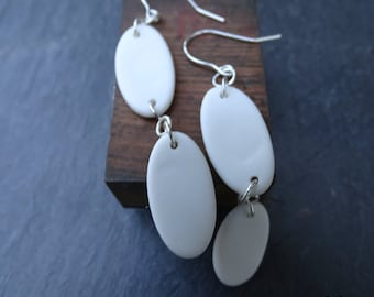 Minimalist Porcelain Clay & 925 Sterling Silver Extra Long Drop Earrings - Double Oval Design