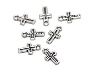 "20 charms ""cross"", 13 x 7 x 1 mm, silver, has 010"