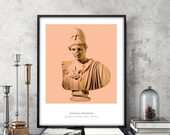 Athena   Portrait of Athena, Greek Mythology, Athena Bust Photo, Athena Bust Art Print, Modern Home Decor, Peach and White, Athena Art Print