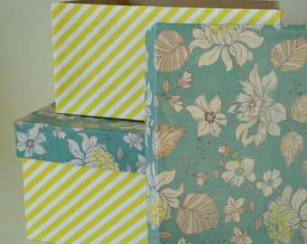 Square floral and yellow striped nesting boxes