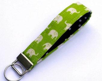 FREE SHIPPING UPGRADE with minimum -  Elephant Key Lanyard - Key Fob - Wrist Lanyard -- Elephants on Apple Green