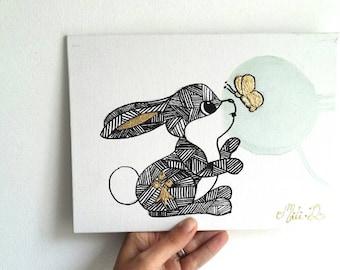 Tableau, peinture, art, lapin, graphisme, papillon, feuille d'or, peinture lapin, tableau animal, animal, cadeau décoration, amoureux lapin,